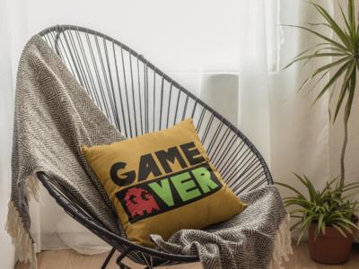 Game Over Beige Zipper Cushion Cover