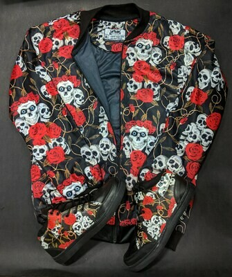 Skull & Roses Bomber Jacket and Shoes Combo