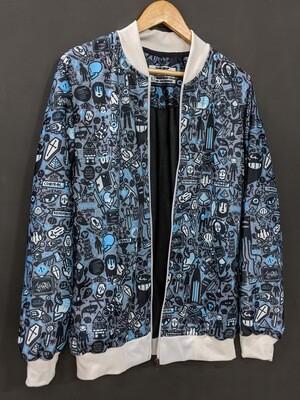 Grey Anime AllOver Print Bomber Jacket