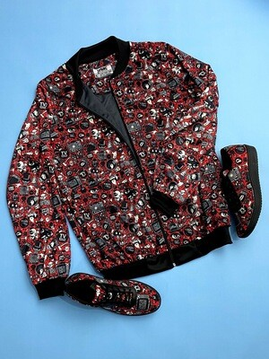 Red Anime Bomber Jacket and Shoes Combo