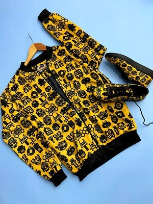 Robotic Yellow Bomber Jacket and Shoes Combo