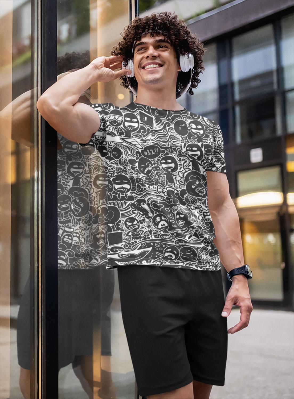 Black Anime Full Printed T-Shirt