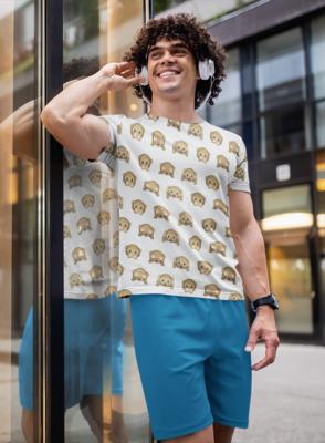 Monkey Emoji  Full Printed T-Shirt