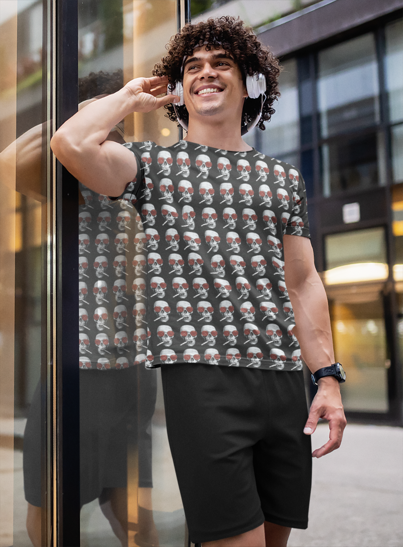 Smoking Skull  Full Printed T-Shirt