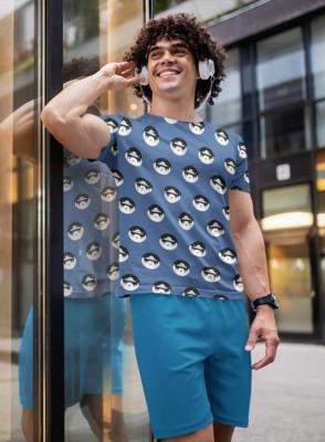 Space Drop Cyan Full Printed T-Shirt