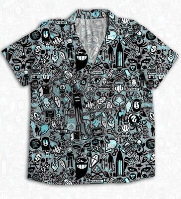 Grey Anime Buttoned Shirt