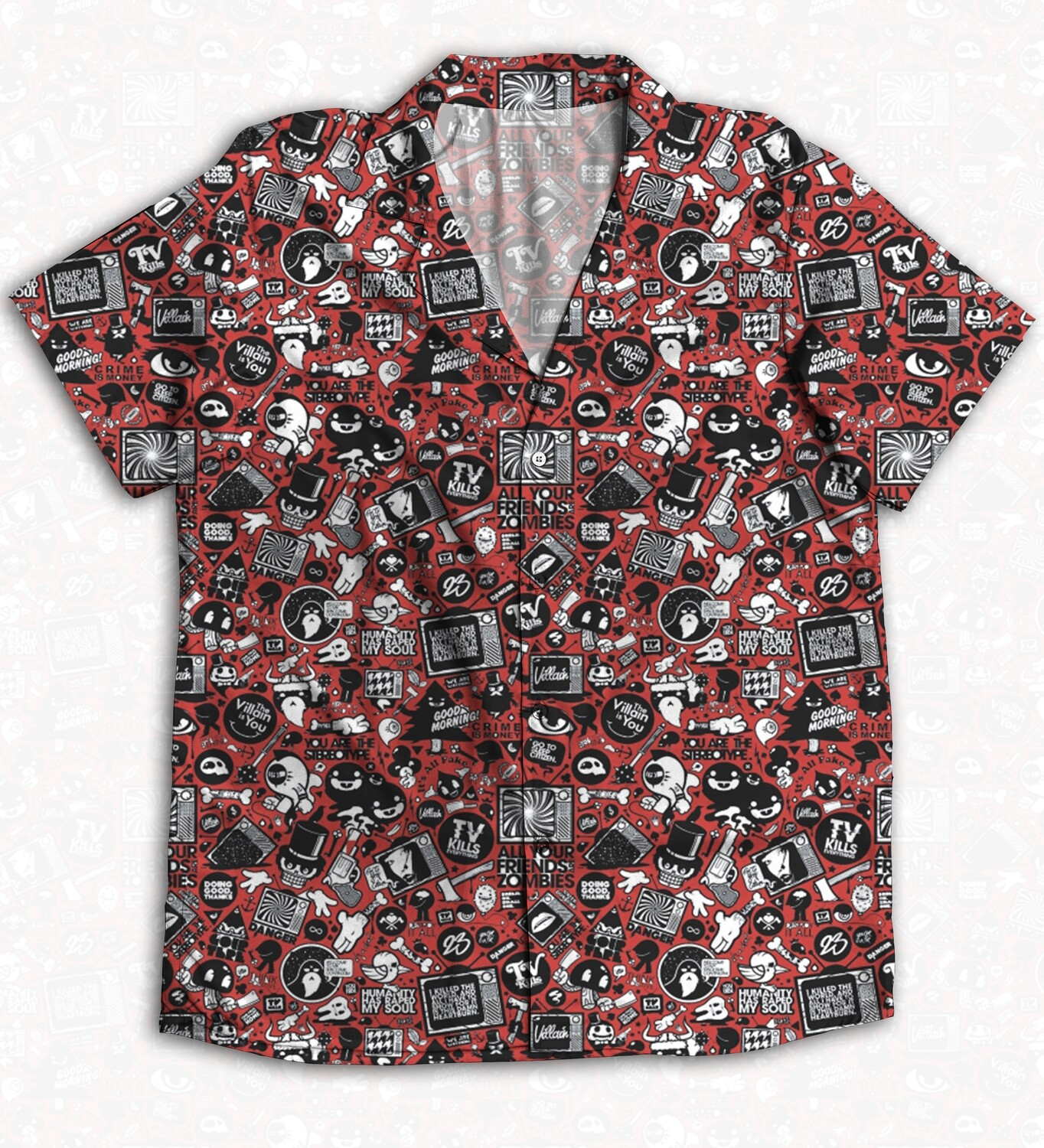 Red Anime Buttoned Shirt
