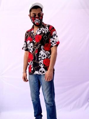 Skull Roses Buttoned Shirt