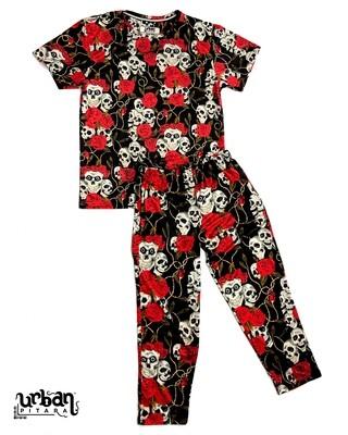 Skull Roses Body Suit, T-shirt & Lower Combo