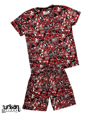 Red Anime T-shirt and shorts Combo