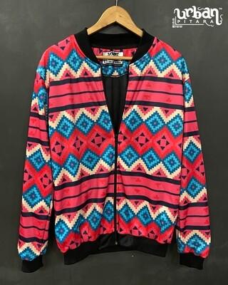 Ethnic Pattern Print Bomber Jacket