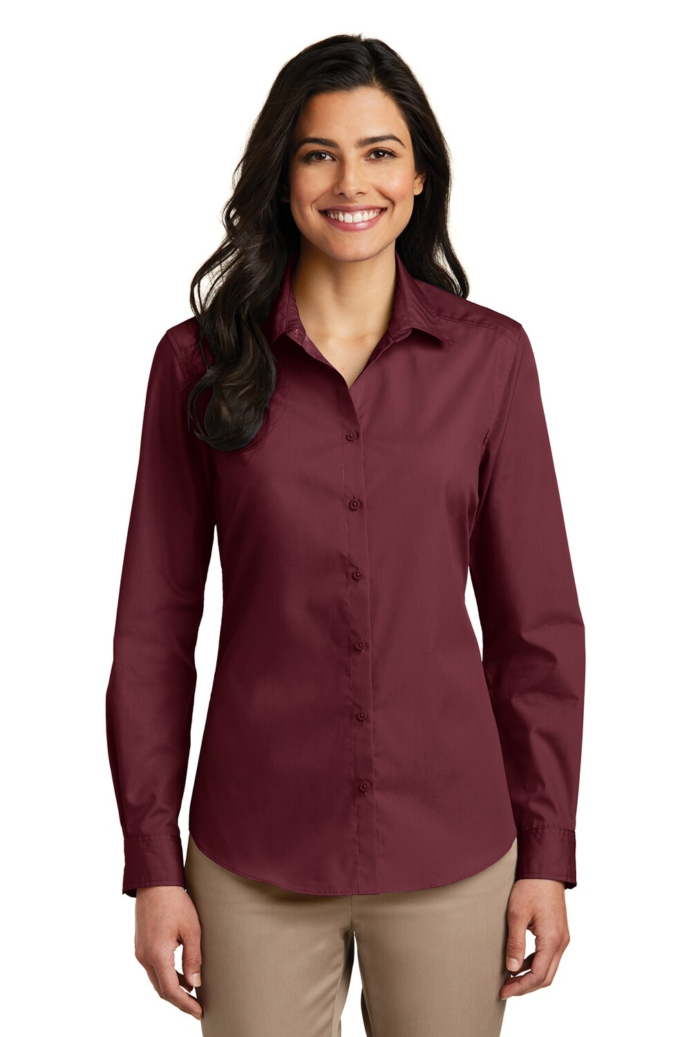 Ladies Port Authority Long Sleeve Poplin Shirt