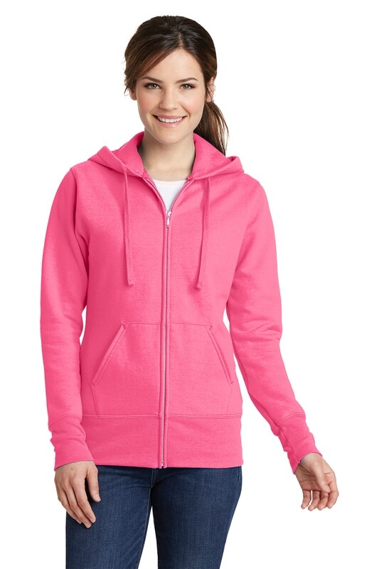 Ladies Full Zip Hooded Fleece Sweatshirt