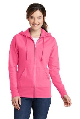 Ladies Full Zip Hooded Fleece Sweatshirt