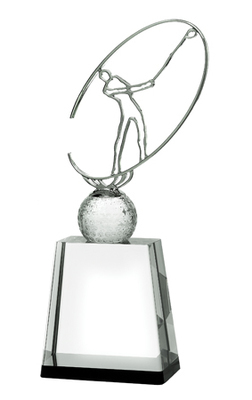 Silver Metal Golf Figure with Crystal Golf Ball - 3 Sizes