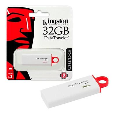 MEMORIA USB KINGSTON 32GB 3.0 DT G4 BLANCO ROJO DTIG4 32GB