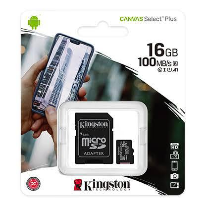 MEMORIA MICRO SD KINGSTON 16GB CANVAS SELECT PLUS CON ADAPTADOR SD CLASE10 SDCS2 16GB