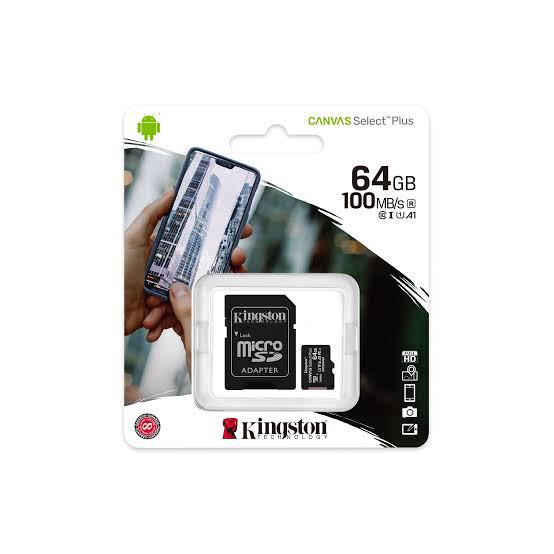 MEMORIA MICRO SD KINGSTON 64GB CANVAS SELECT PLUS CON ADAPTADOR SD CLASE10 SDCS2 64GB