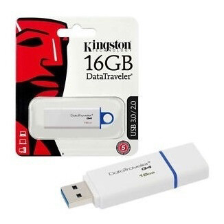 MEMORIA USB KINGSTON 16GB 3.0 DT G4 BLANCO Y AZUL