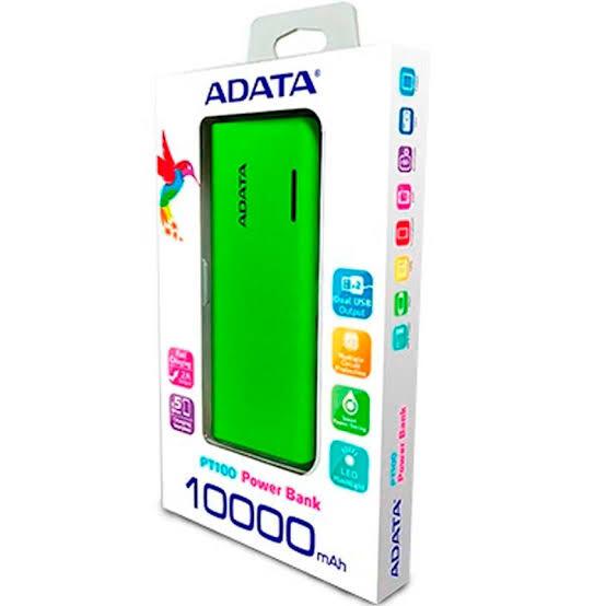 POWER BANK  PT100 VERDE/AMARIL10000 MAH ADATA