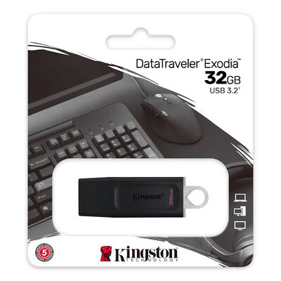 MEMORIA USB KINGSTON 32GB 3.2  GEN 1 DATATRAVELER EXODIA DTX 32GB