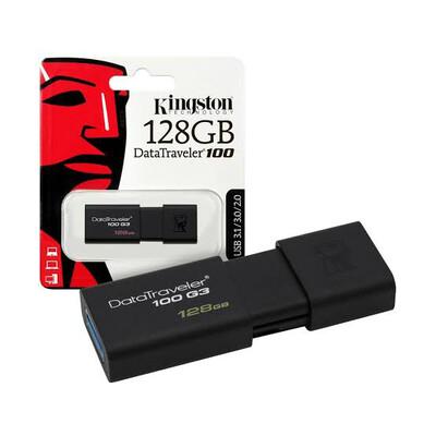 MEMORIA USB KINGSTON 128GB 3.0 DT 100 G3 NEGRO DT100G3 128GB