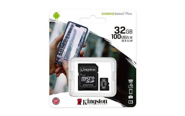 MEMORIA MICRO SD KINGSTON 32GB CANVAS SELECT PLUS CON ADAPTADOR SD CLASE10 SDCS2 32GB