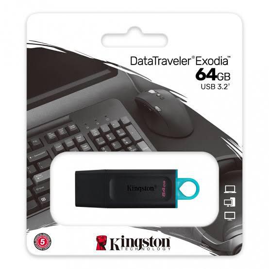 MEMORIA USB KINGSTON 64GB 3.2  GEN 1 DATATRAVELER EXODIA DTX 64GB