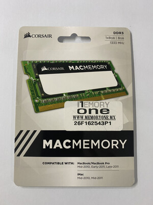 MEMORIA RAM CORSAIR SODIMM DDR3 1333MHZ 8GB 1X204 1.5V CALIFICADO PARA APPLE CMSA8GX3M1A1333C9