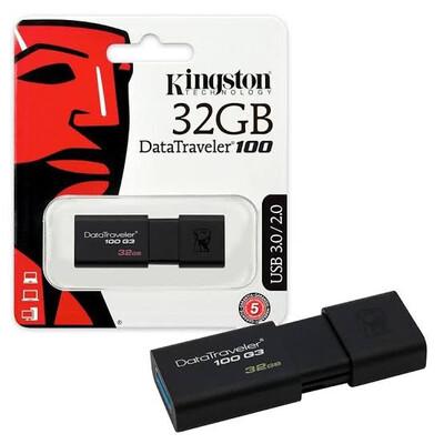 MEMORIA USB KINGSTON 32GB 3.0 DT100 G3 NEGRO DT100G3 32GB
