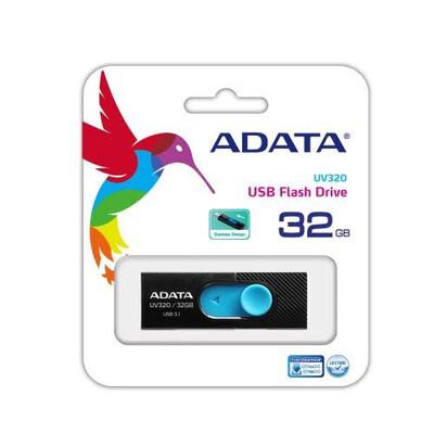 MEMORIA USB RETRACTIL ADATA UV320 32GB USB 3.1 NEGRO AZUL AUV320 32G RBKBL