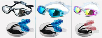 Unisex Anti-UV Anti-Fog Adjustable Swimming Goggles with Ear Plug