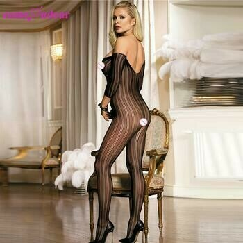 Sheer Seamless Crotchless Long Sleeve Bodystocking Lingerie