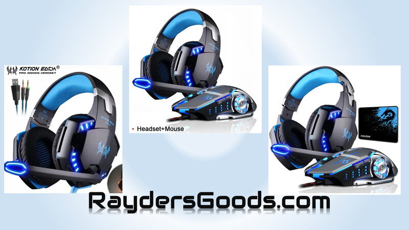 Gaming Headset Deep Bass Stereo LED Light PS4 PC Laptop+Gaming Mouse