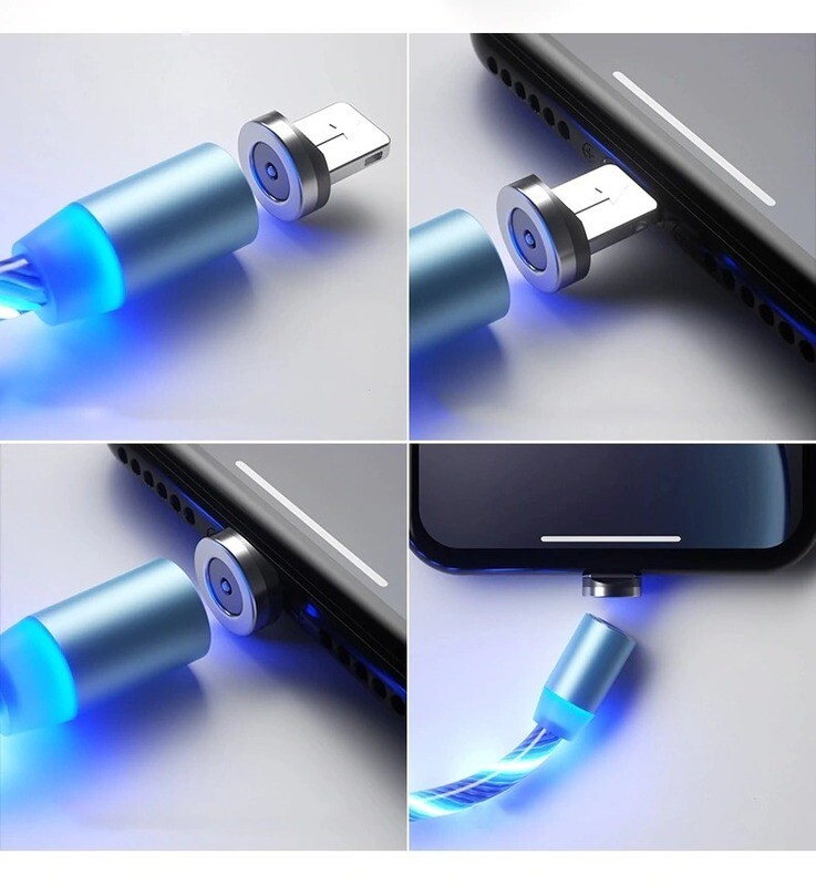 Magnetic Mobile Phone LED Luminous Lighting Charging Cable and Connector