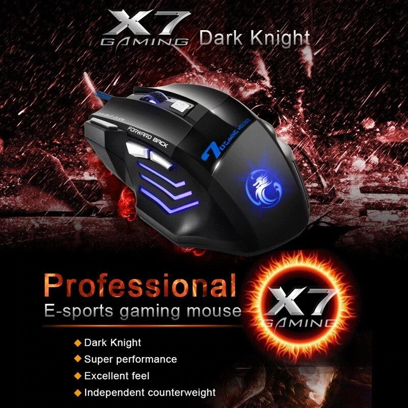 USB Gaming Mouse LED Backlight 7 Button 5500dpi