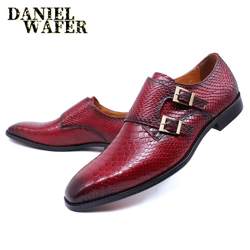 Mens Luxury Snakeskin Print Monk Strap Slip On Shoes