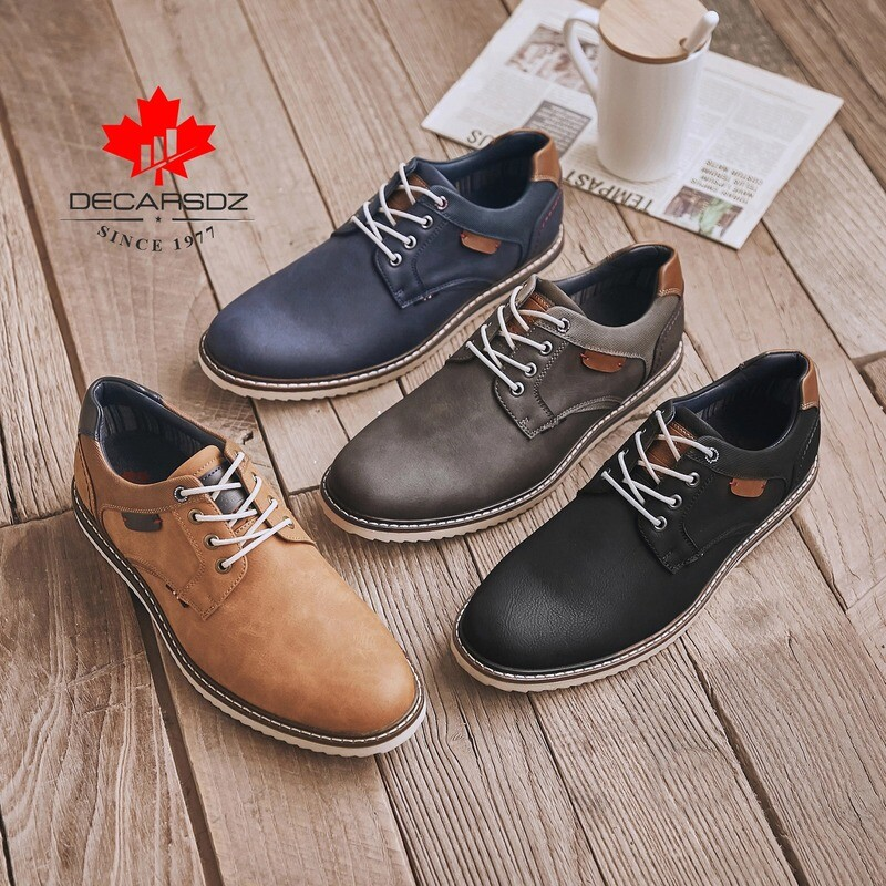Mens Oxford Leather Fashion Lace-up Dress Shoes
