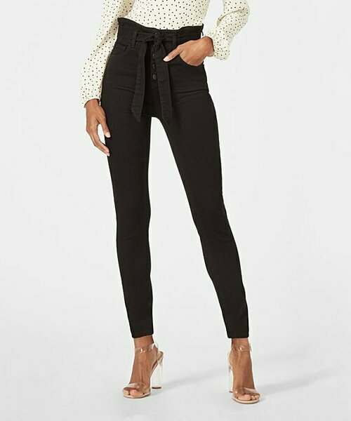 JustFab, Черные джинсы скинни на пуговицах