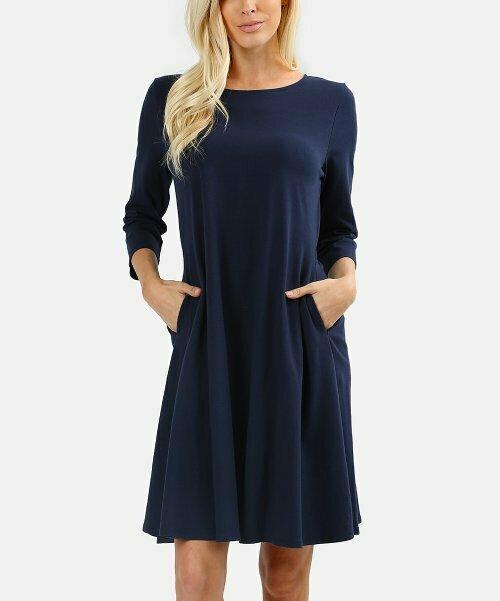 Zenana, Темно-синее платье А-силуэта с двумя карманами и рукавами три четверти