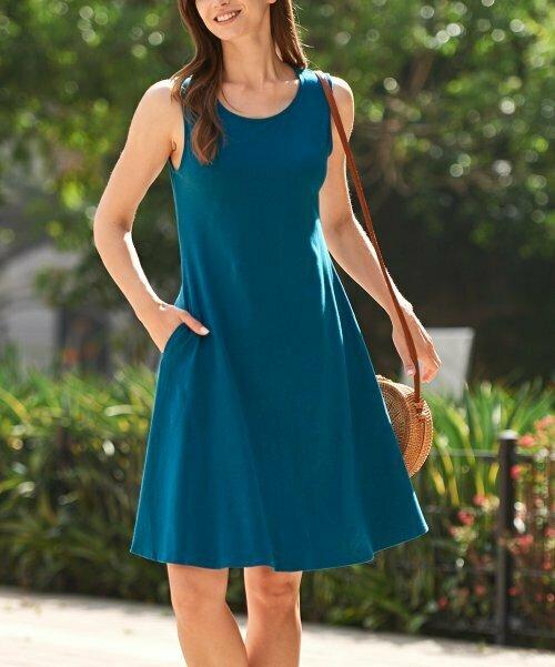 Zenana, Бирюзовое платье трапециевидной формы без рукавов с двумя карманами
