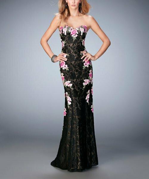 Черное кружевное платье без бретелек с цветочным принтом, La Femme