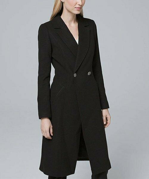 Черное пальто с V-образным вырезом, White House Black Market