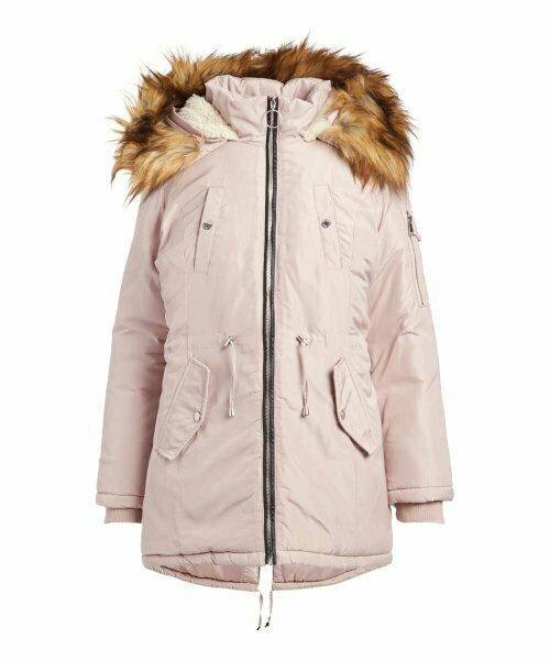 Нежно-розовая куртка с искуственным мехом и капюшоном, Steve Madden