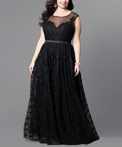 Черное платье с кружевной накладкой и прозрачным акцентом, Ricco Bruno