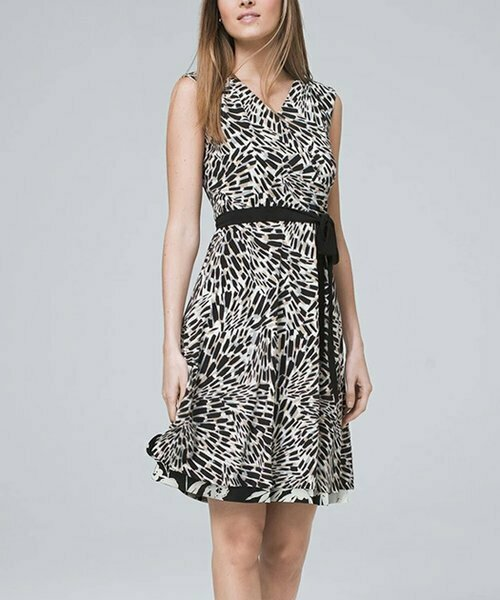 Классическое платье трапециевидной формы с запахом, White House Black Market