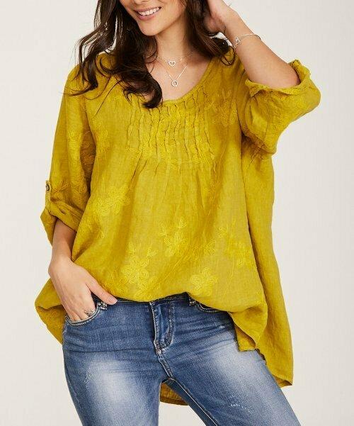 Желтая туника с цветочной вышивкой, Ornella Paris