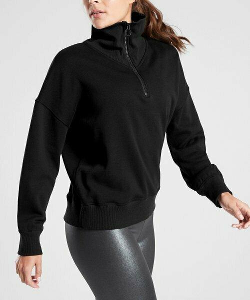 Черный уютный пуловер с молнией  Karma, Athleta