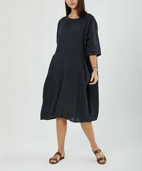 Темно-синее льняное прямое платье с карманами, Ornella Paris