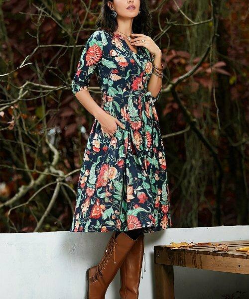 Темно-синее и красное платье-миди с цветочным принтом и завязкой на талии, Reborn Collection